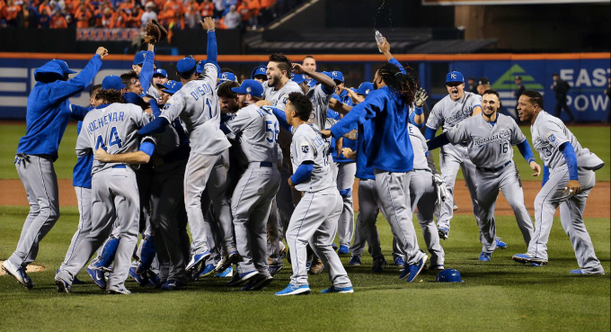 Royals celebrate their World Series win.